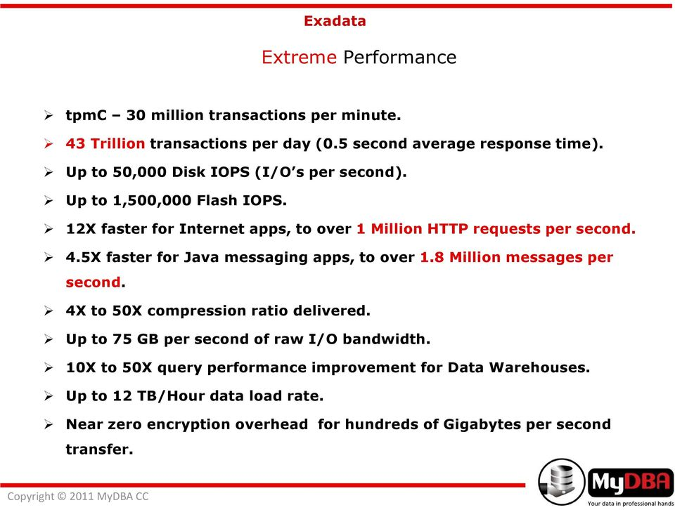 5X faster for Java messaging apps, to over 1.8 Million messages per second. 4X to 50X compression ratio delivered.