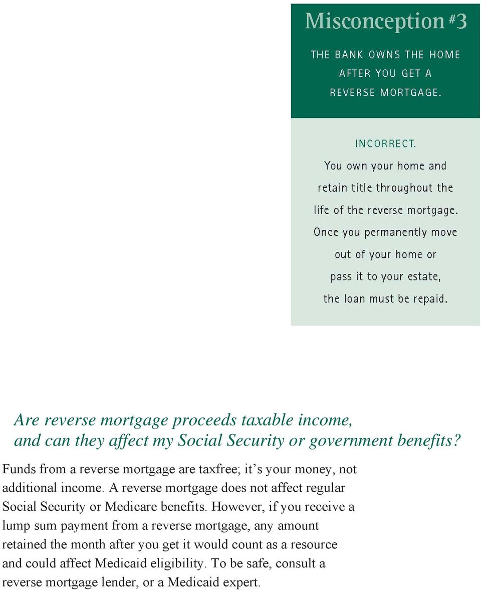 A reverse mortgage does not affect regular Social Security or Medicare benefits.
