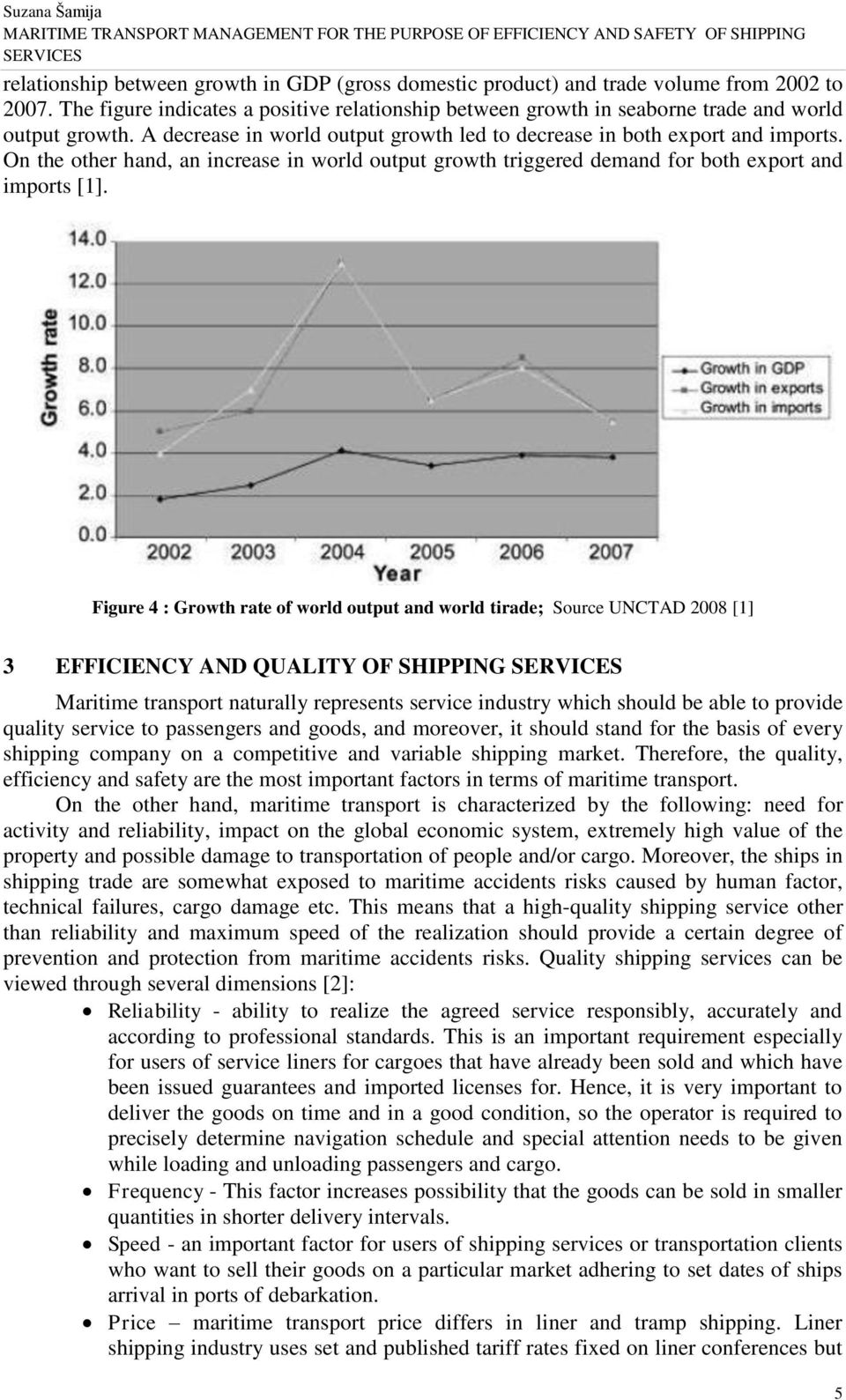 Figure 4 : Growth rate of world output and world tirade; Source UNCTAD 2008 [1] 3 EFFICIENCY AND QUALITY OF SHIPPING Maritime transport naturally represents service industry which should be able to