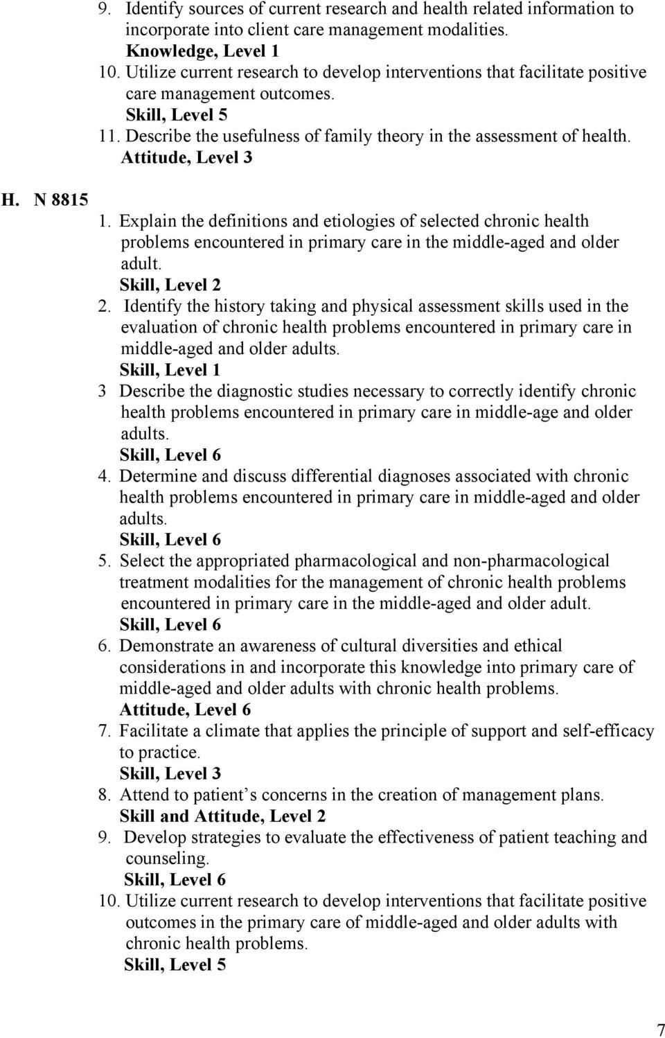 N 8815 1. Explain the definitions and etiologies of selected chronic health problems encountered in primary care in the middle-aged and older adult. Skill, Level 2 2.