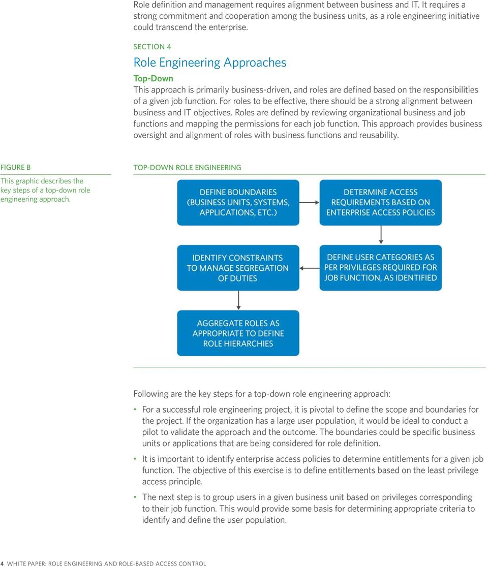 SECTION 4 Role Engineering Approaches Top-Down This approach is primarily business-driven, and roles are defined based on the responsibilities of a given job function.