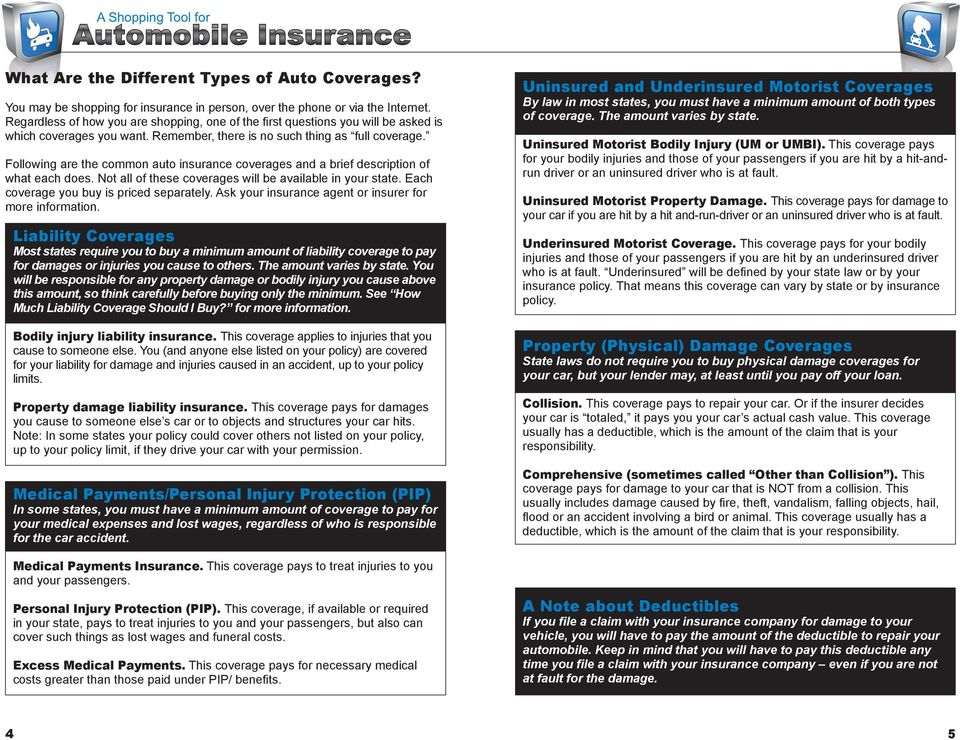 Following are the common auto insurance coverages and a brief description of what each does. Not all of these coverages will be available in your state. Each coverage you buy is priced separately.