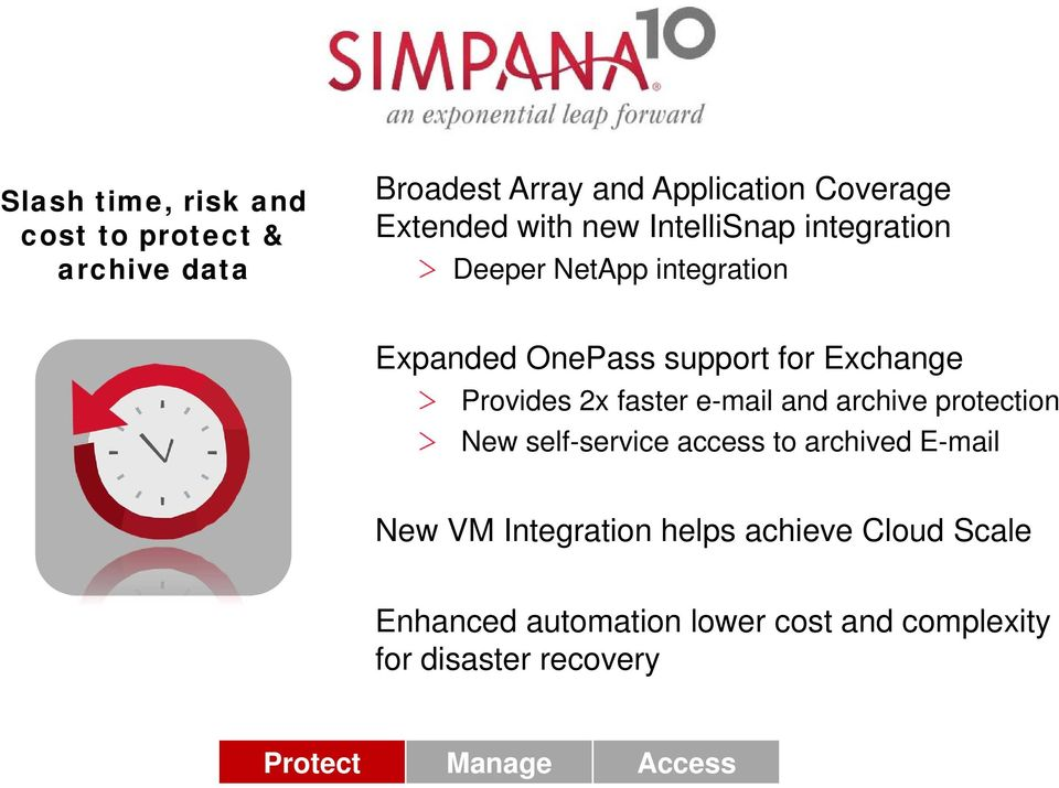 faster e-mail and archive protection New self-service access to archived E-mail New VM Integration helps