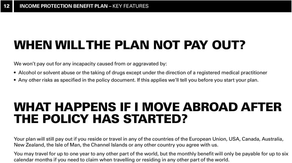 specified in the policy document. If this applies we ll tell you before you start your plan. What happens if I move abroad after the policy has started?