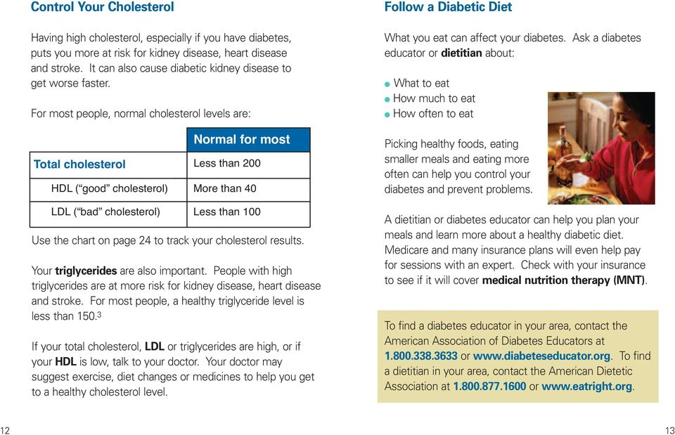For most people, normal cholesterol levels are: Total cholesterol Normal for most Less than 200 HDL ( good cholesterol) More than 40 LDL ( bad cholesterol) Less than 100 Use the chart on page 24 to