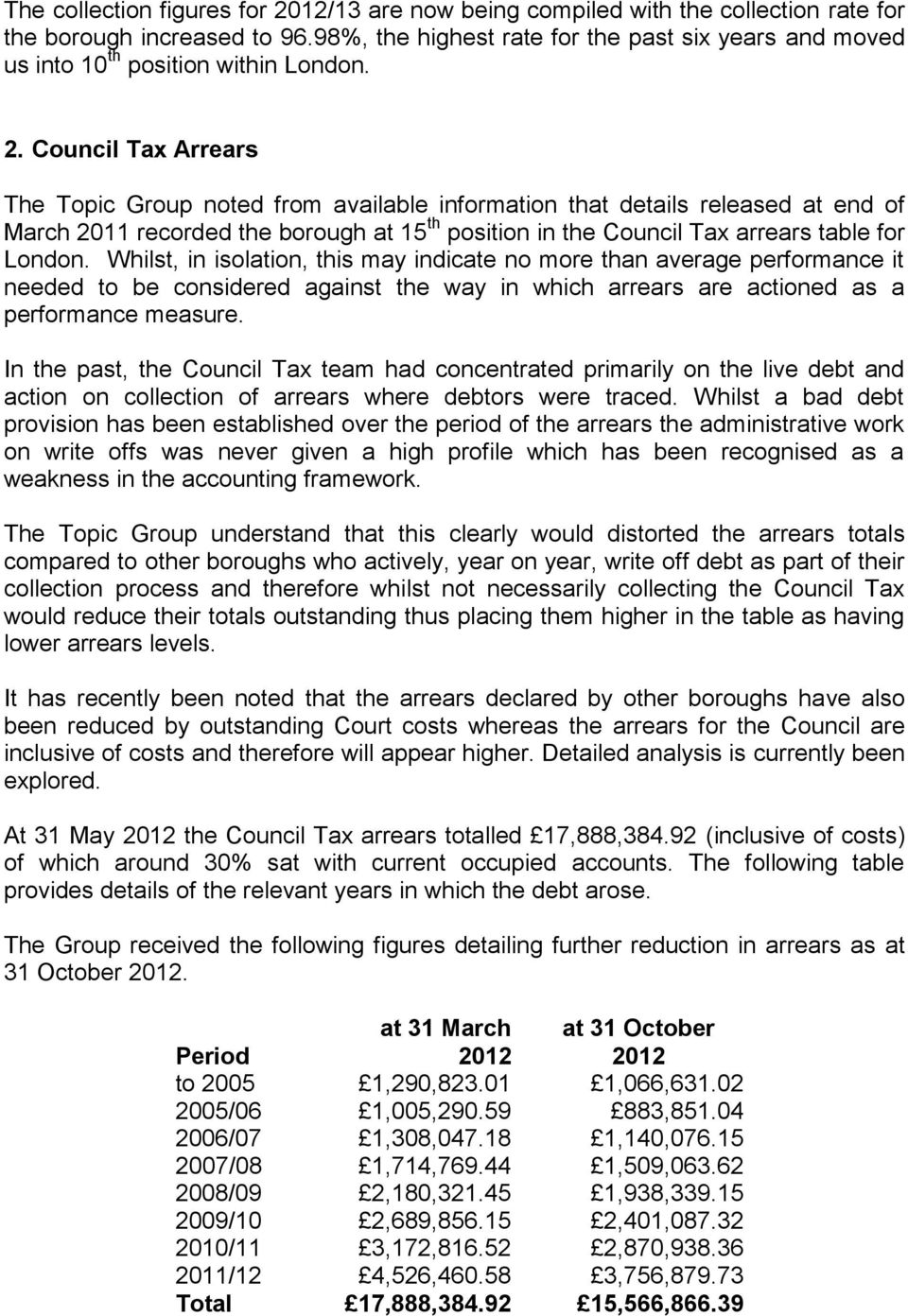 Council Tax Arrears The Topic Group noted from available information that details released at end of March 2011 recorded the borough at 15 th position in the Council Tax arrears table for London.