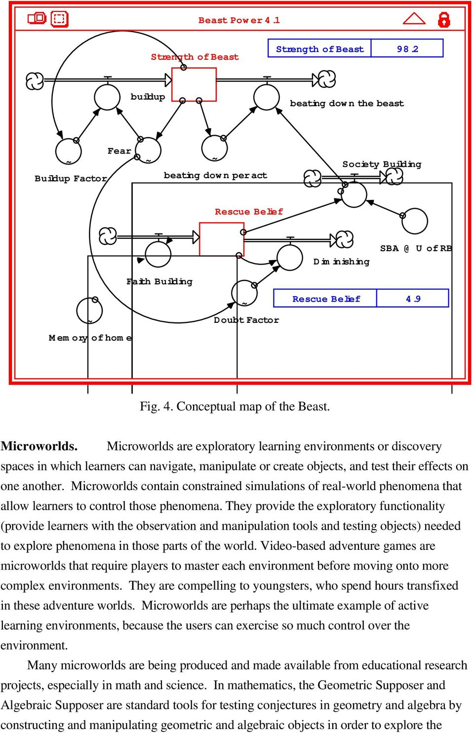 9 ~ Doubt Factor Memory of home Fig. 4. Conceptual map of the Beast. Microworlds.