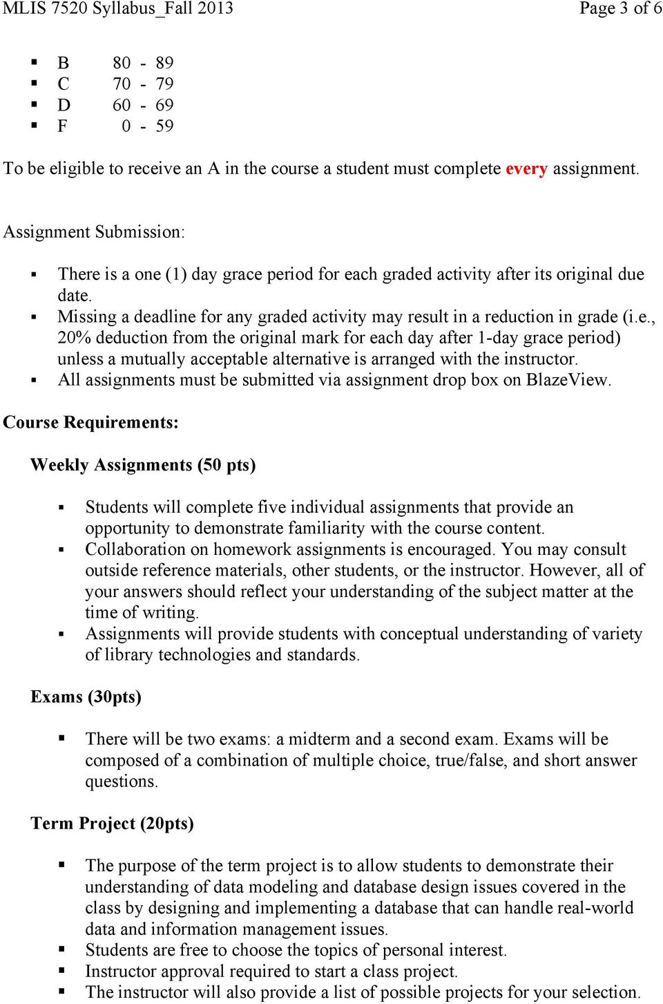 All assignments must be submitted via assignment drop box on BlazeView.