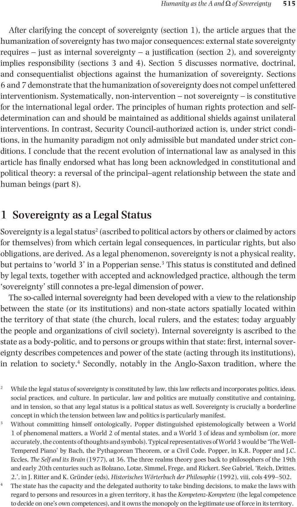 Section 5 discusses normative, doctrinal, and consequentialist objections against the humanization of sovereignty.