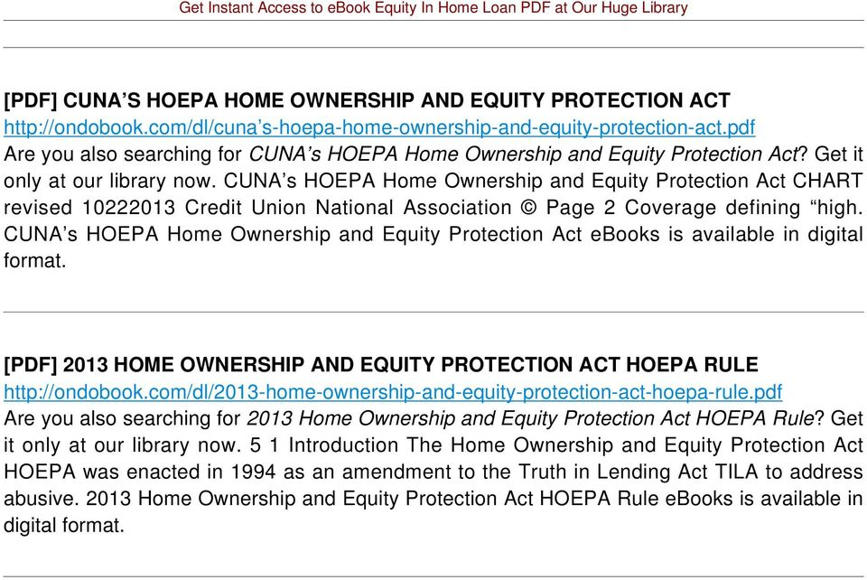 CUNA s HOEPA Home Ownership and Equity Protection Act CHART revised 10222013 Credit Union National Association Page 2 Coverage defining high.