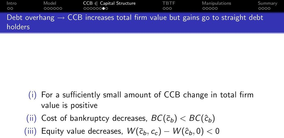 total firm value is positive (ii) Cost of bankruptcy decreases, BC( c