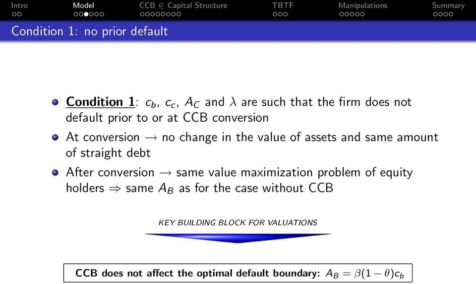 straight debt After conversion same value maximization problem of equity holders same A B as for the