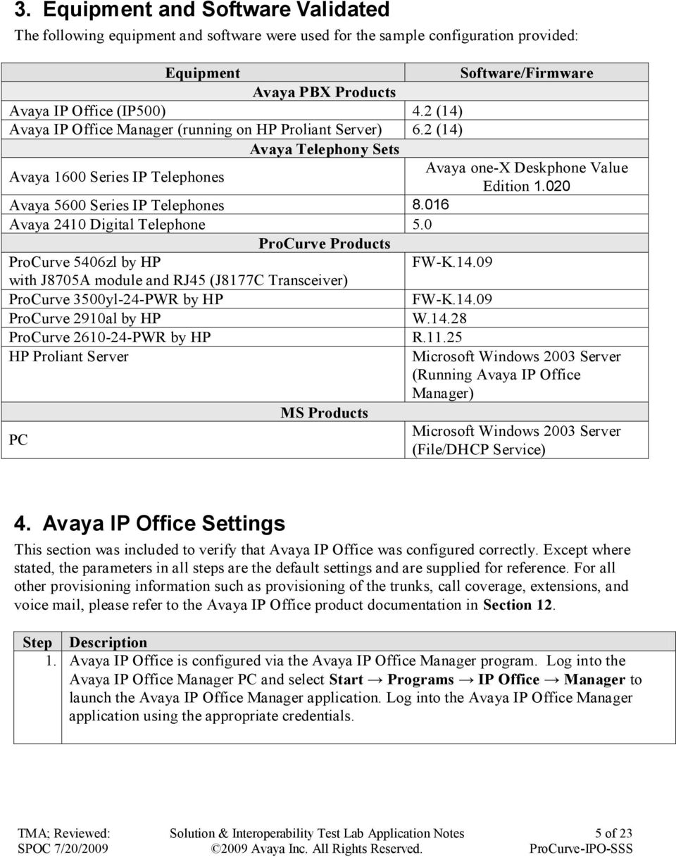 020 Avaya 5600 Series IP Telephones 8.016 Avaya 2410 Digital Telephone 5.0 ProCurve Products ProCurve 5406zl by HP FW-K.14.