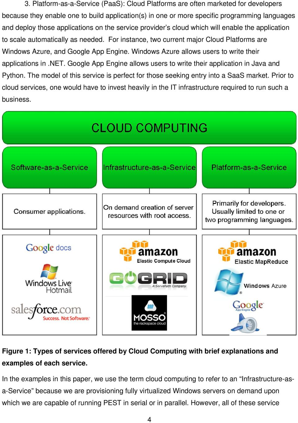 For instance, two current major Cloud Platforms are Windows Azure, and Google App Engine. Windows Azure allows users to write their applications in.net.