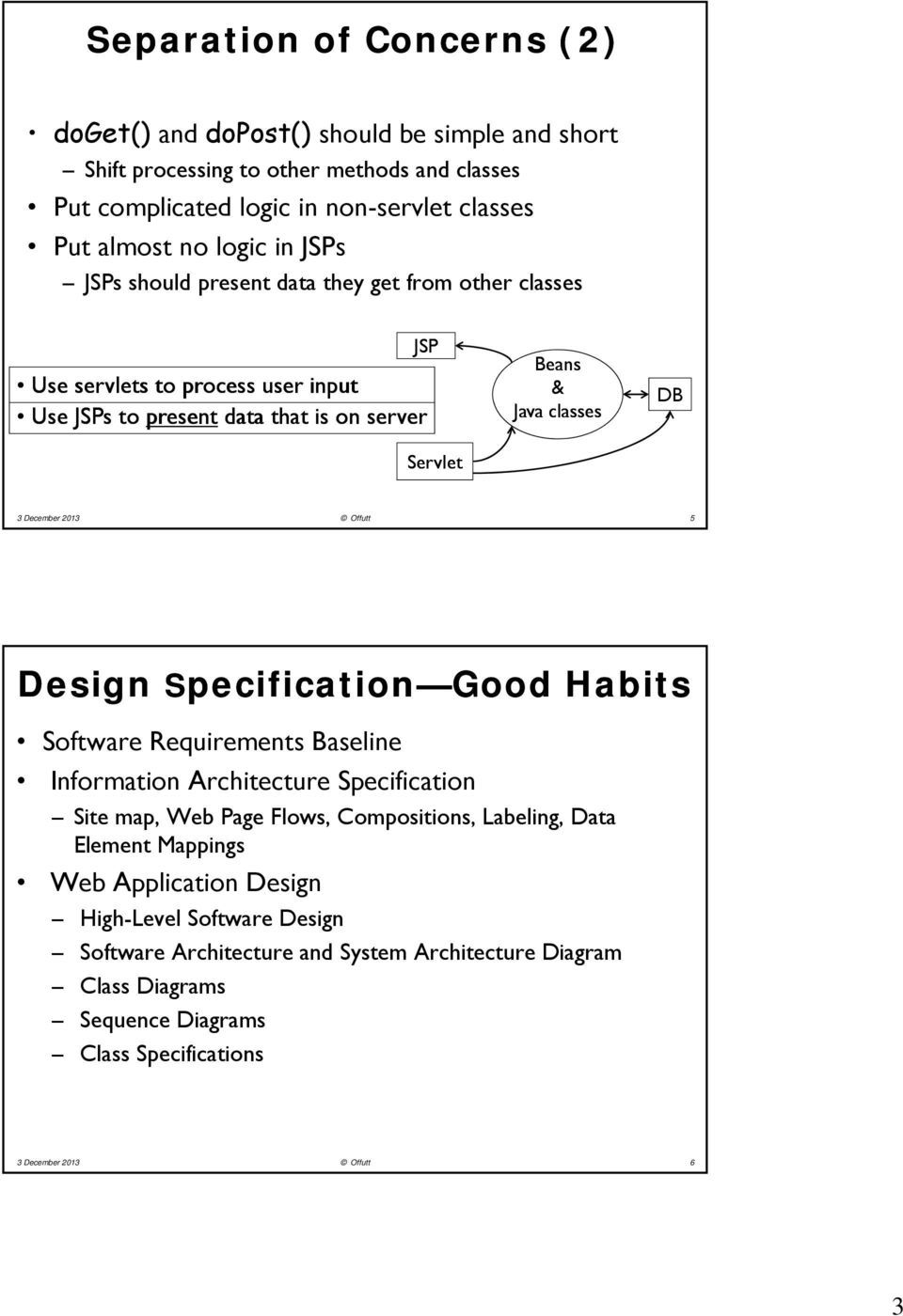 2013 Offutt 5 Design Specification Good Habits Software Requirements Baseline Information Architecture Specification Site map, Web Page Flows, Compositions, Labeling, Data Element