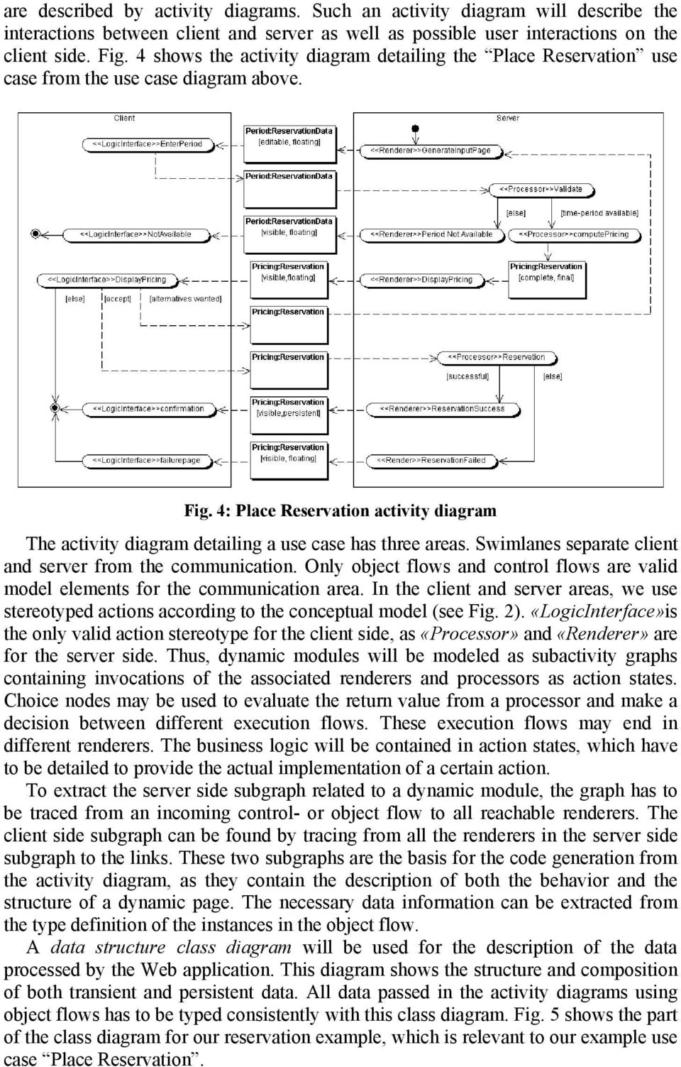 4: Place Reservation activity diagram The activity diagram detailing a use case has three areas. Swimlanes separate client and server from the communication.