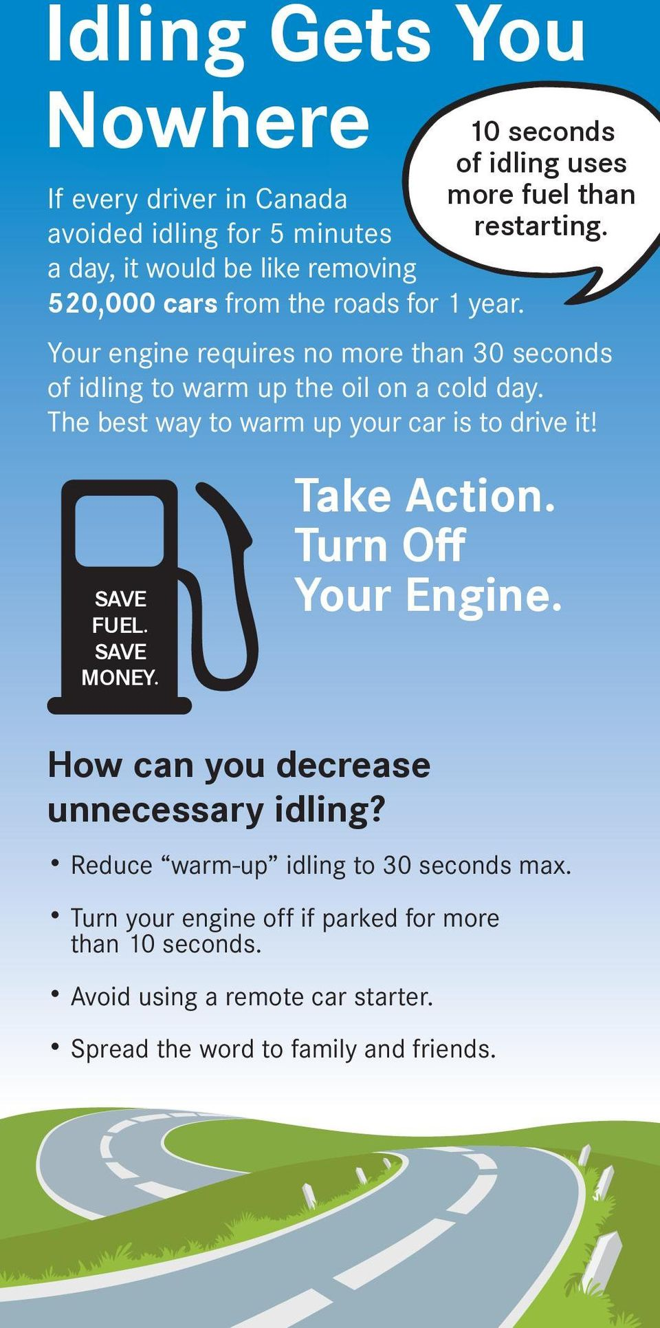 SAVE MONEY. 10 seconds of idling uses more fuel than restarting. Take Action. Turn Off Your Engine. How can you decrease unnecessary idling?