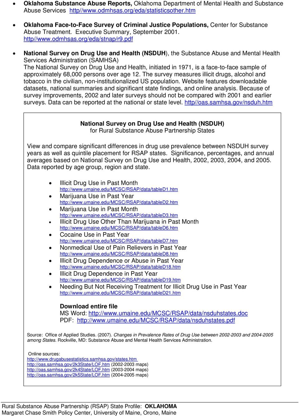 pdf National Survey on Drug Use and Health (NSDUH), the Substance Abuse and Mental Health Services Administration (SAMHSA) The National Survey on Drug Use and Health, initiated in 1971, is a