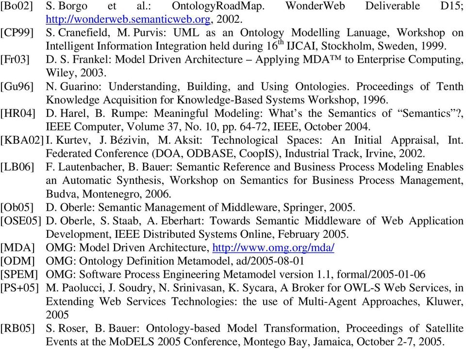 ockholm, Sweden, 1999. [Fr03] D. S. Frankel: Model Driven Architecture Applying MDA to Enterprise Computing, Wiley, 2003. [Gu96] N. Guarino: Understanding, Building, and Using Ontologies.