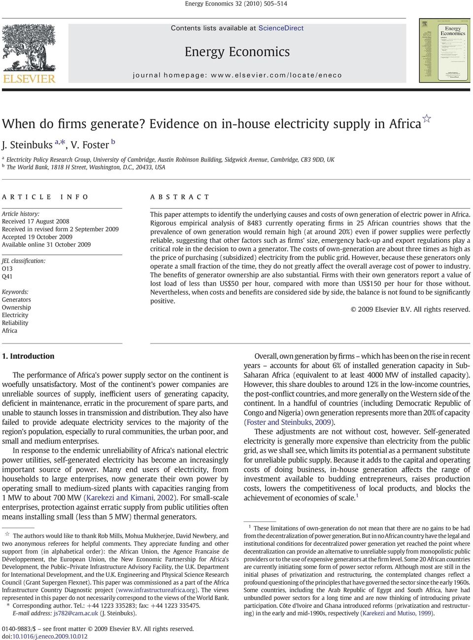 Foster b a Electricity Policy Research Group, University of Ca