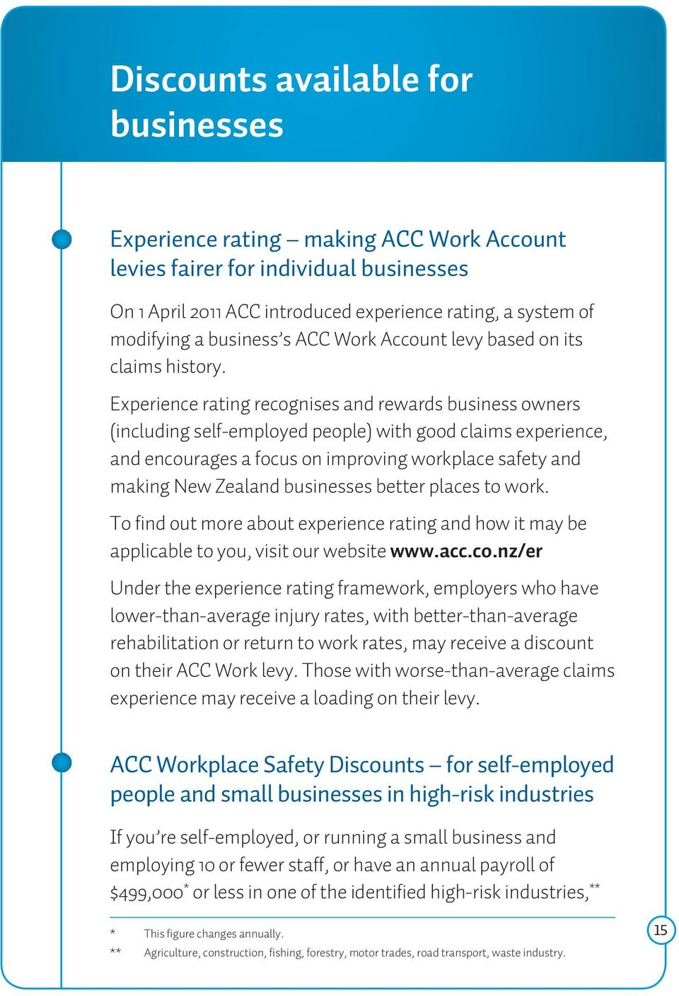 Experience rating recognises and rewards business owners (including self-employed people) with good claims experience, and encourages a focus on improving workplace safety and making New Zealand