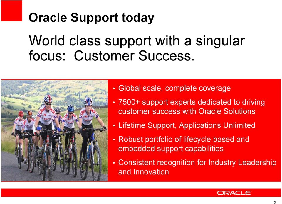 with Oracle Solutions Lifetime Support, Applications Unlimited Robust portfolio of lifecycle
