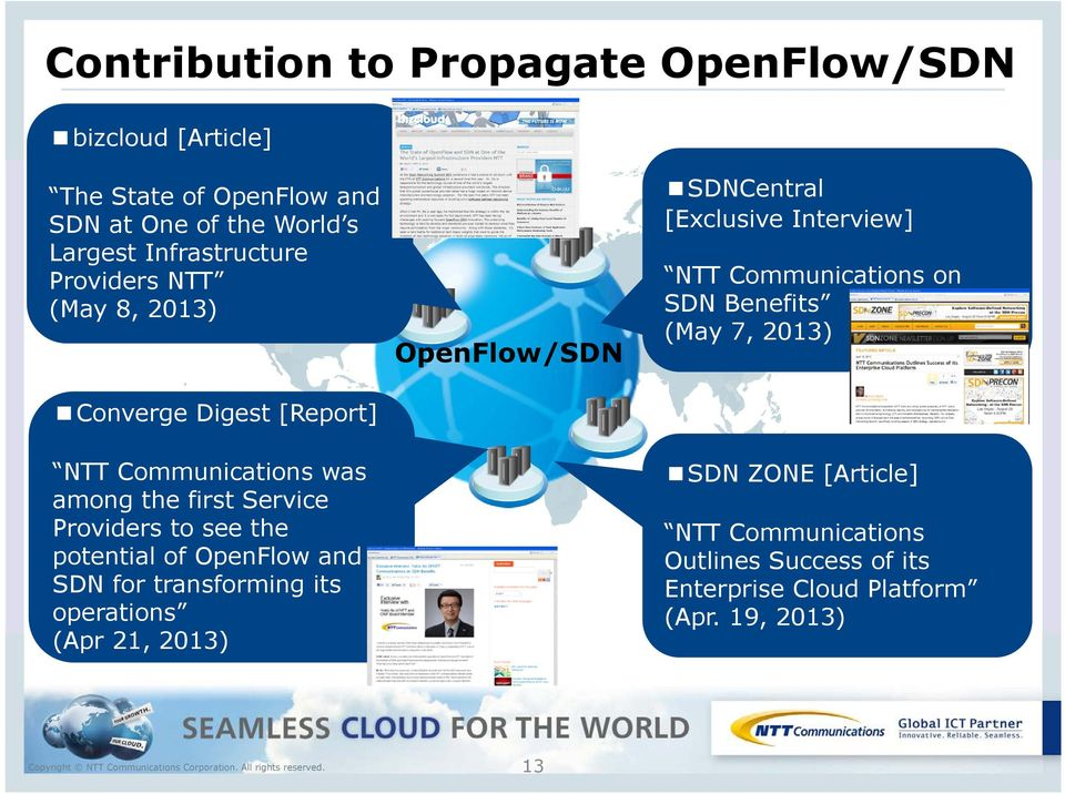 of OpenFlow and SDN for transforming its operations (Apr 21, 2013) OpenFlow/SDN SDNCentral [Exclusive Interview] NTT Communications