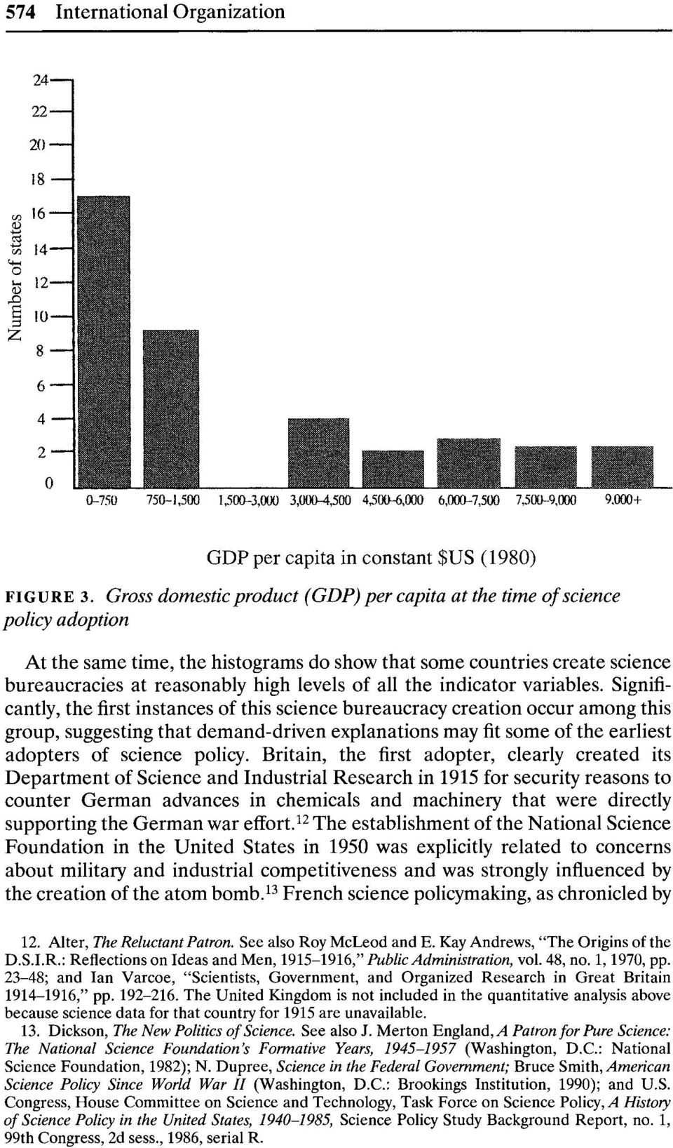 Gross domestic product (GDP) per capita at the time of science policy adoption At the same time, the histograms do show that some countries create science bureaucracies at reasonably high levels of