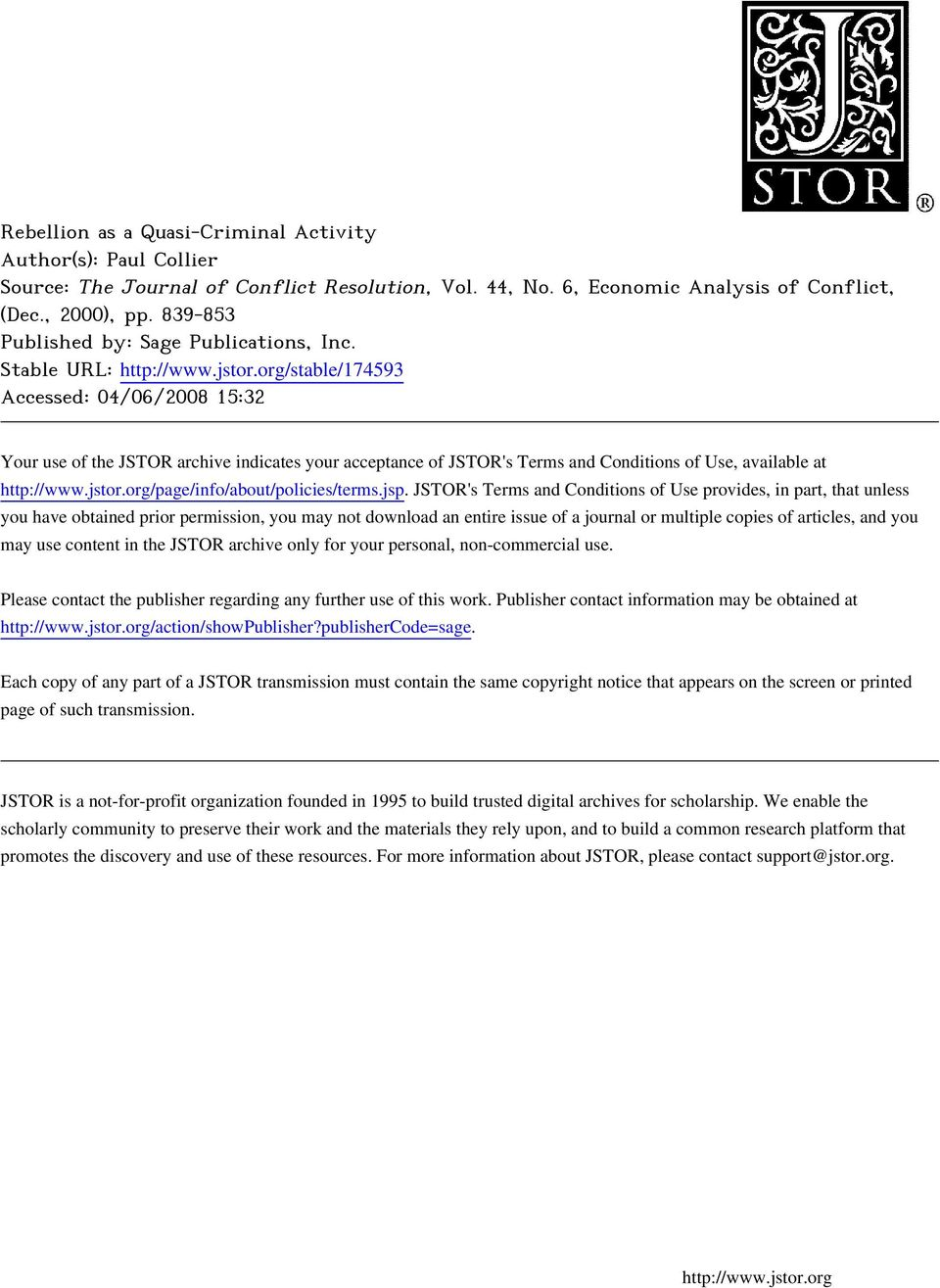 org/stable/174593 Accessed: 04/06/2008 15:32 Your use of the JSTOR archive indicates your acceptance of JSTOR's Terms and Conditions of Use, available at http://www.jstor.