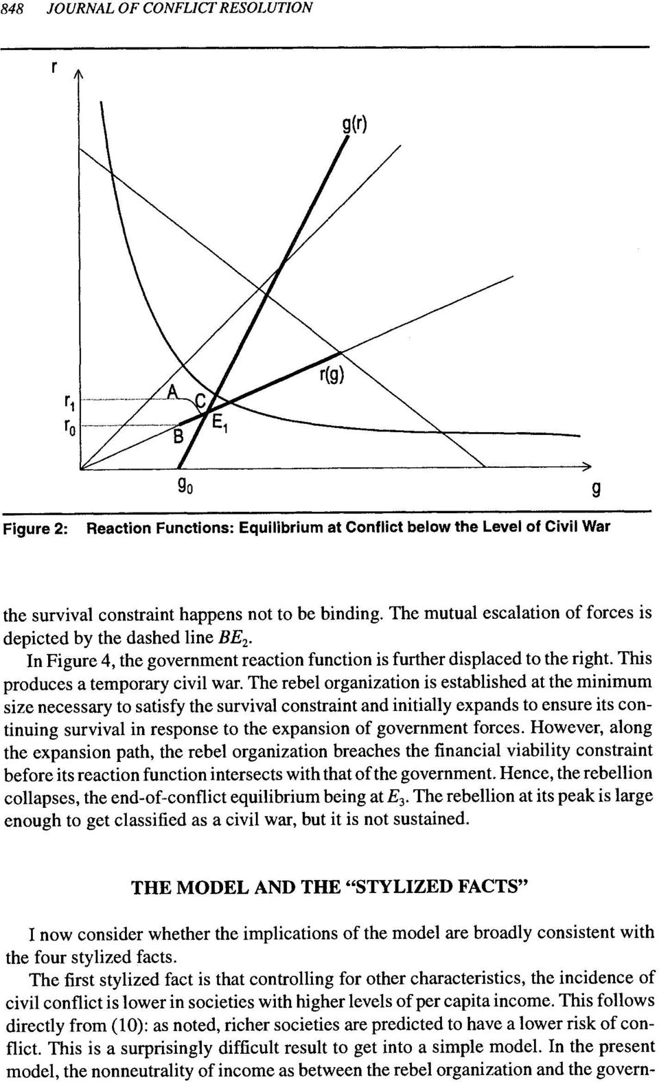 The rebel organization is established at the minimum size necessary to satisfy the survival constraint and initially expands to ensure its continuing survival in response to the expansion of
