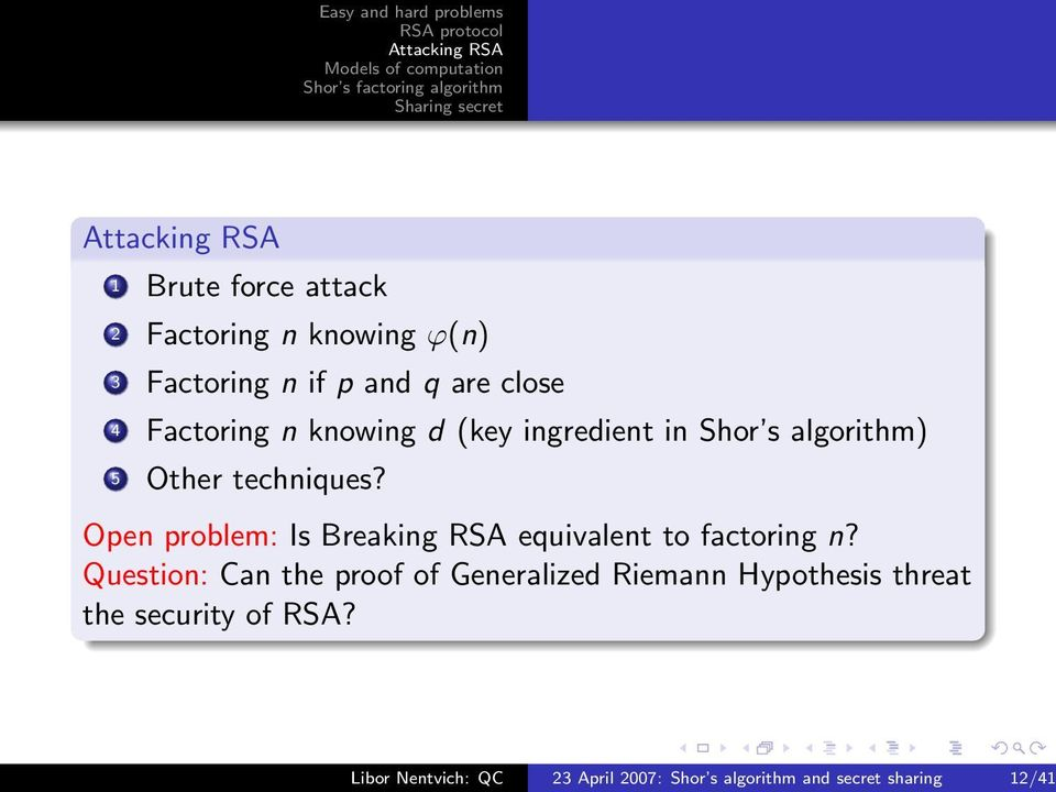 Open problem: Is Breaking RSA equivalent to factoring n?