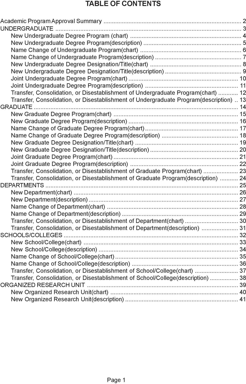 .. 8 New Undergraduate Degree Designation/Title(description)... 9 Joint Undergraduate Degree Program(chart)... 10 Joint Undergraduate Degree Program(description).