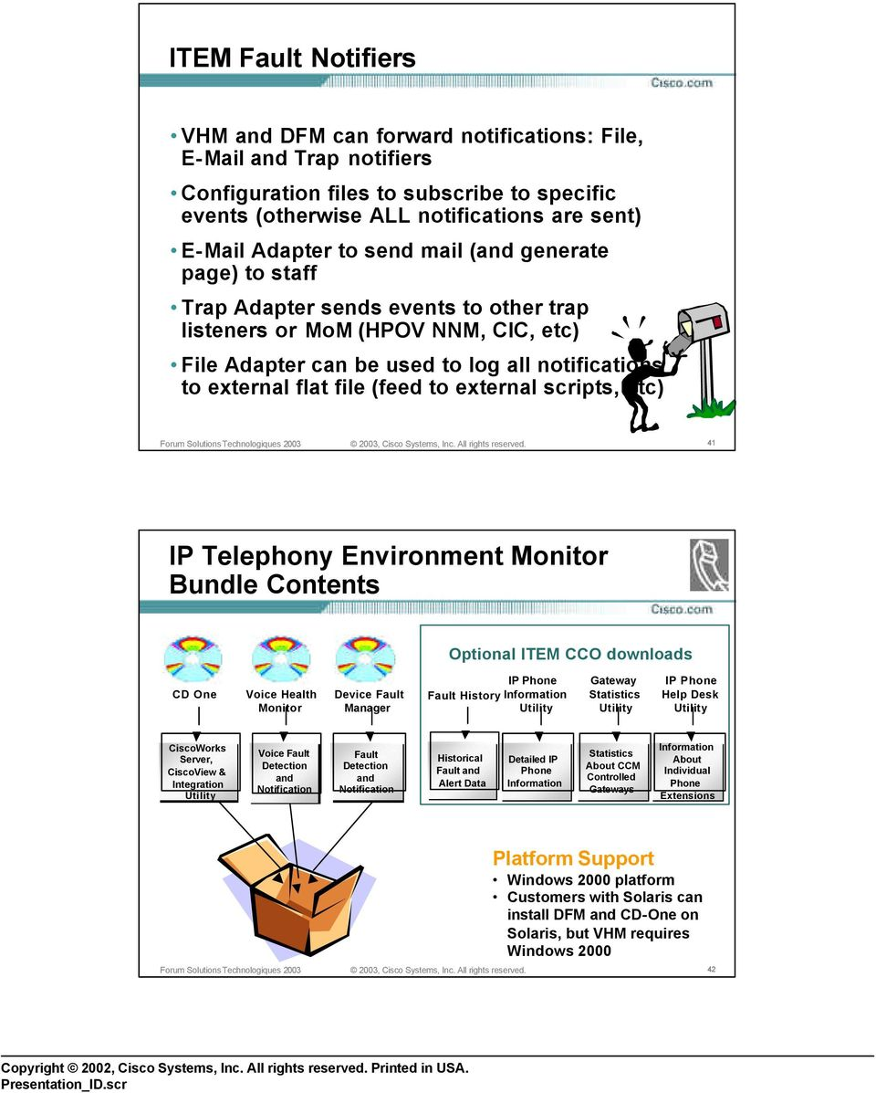 to external scripts, etc) 41 IP Telephony Environment Monitor Bundle Contents Optional ITEM CCO downloads CD One Voice Health Monitor Device Fault Manager IP Phone Fault History Information Utility