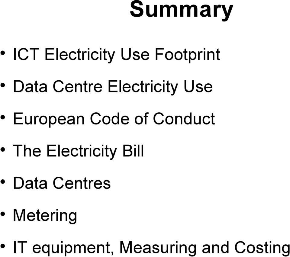 Conduct The Electricity Bill Data Centres