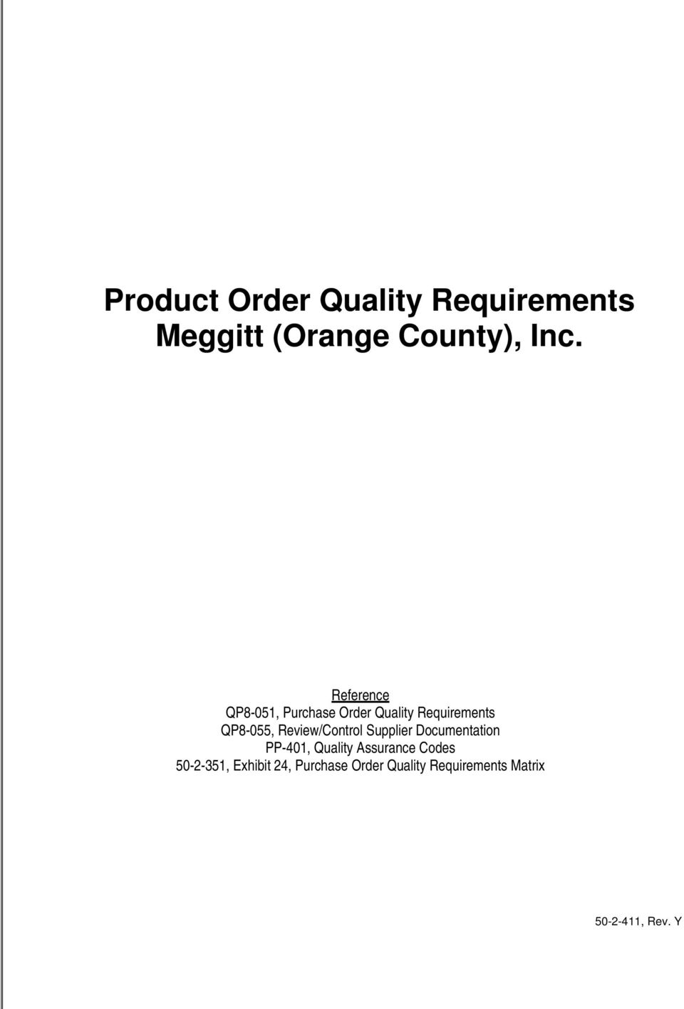 Review/Control Supplier Documentation PP-401, Quality Assurance