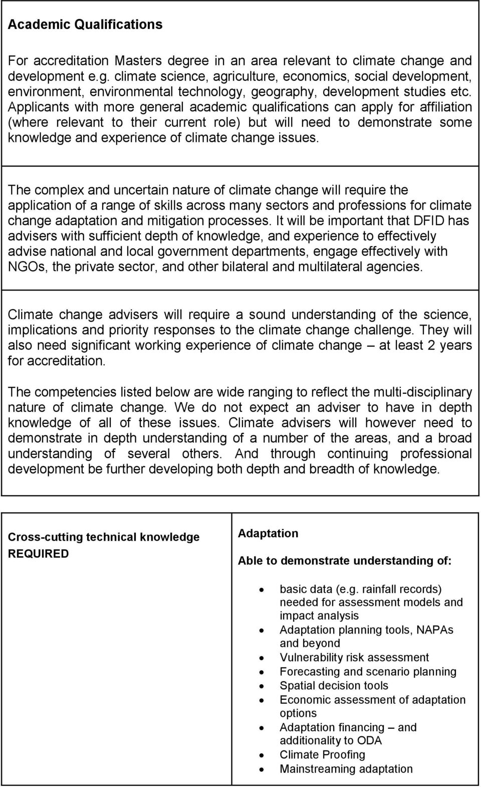 issues. The complex and uncertain nature of climate change will require the application of a range of skills across many sectors and professions for climate change adaptation and mitigation processes.