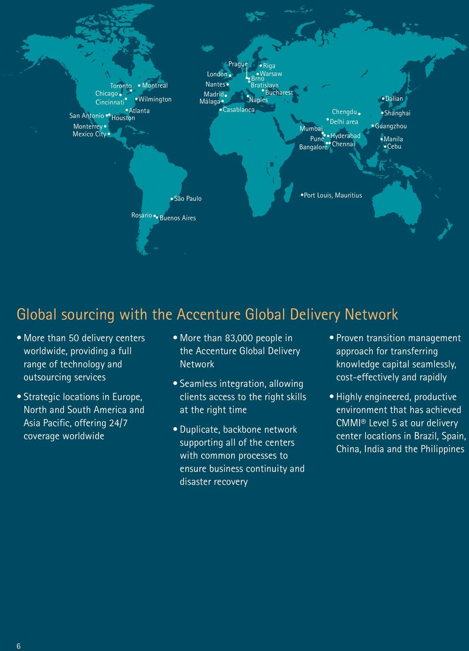 Network More than 50 delivery centers worldwide, providing a full range of technology and outsourcing services Strategic locations in Europe, North and South America and Asia Pacific, offering 24/7
