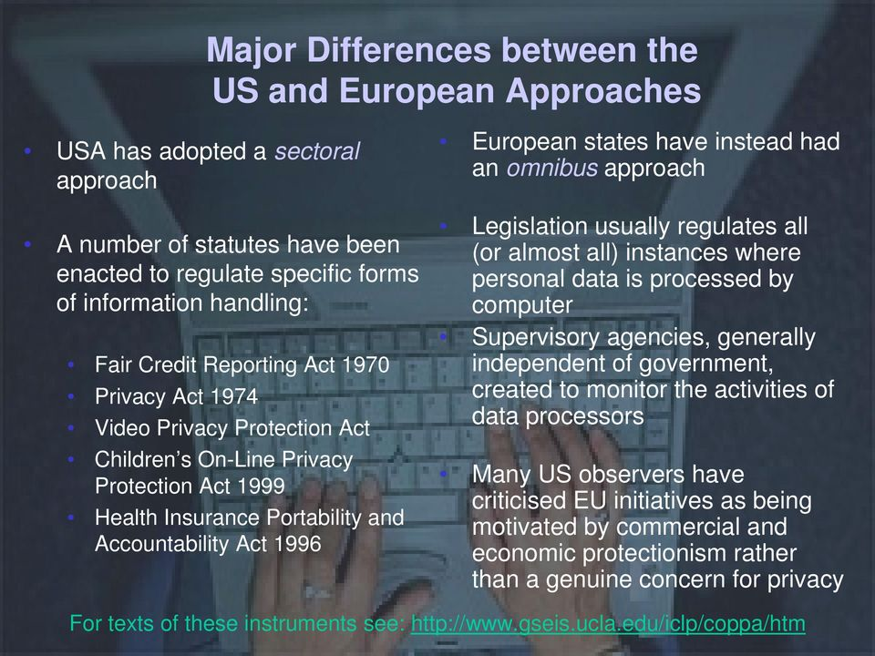 had an omnibus approach Legislation usually regulates all (or almost all) instances where personal data is processed by computer Supervisory agencies, generally independent of government, created to