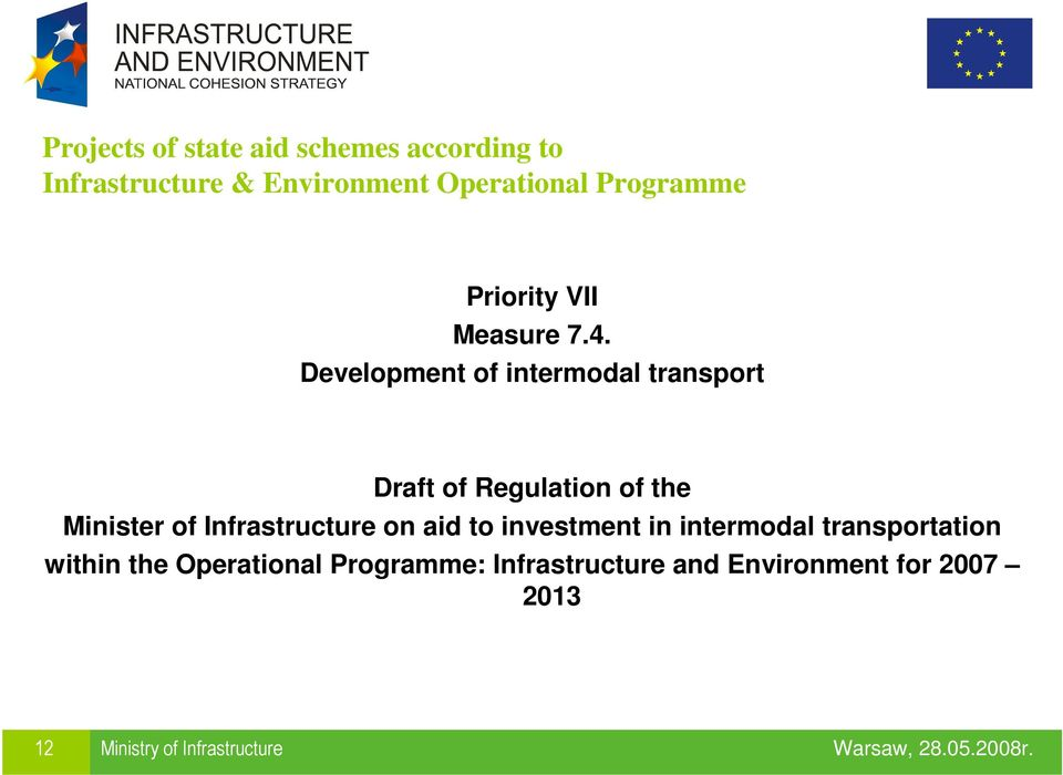 Development of intermodal transport Draft of Regulation of the Minister of Infrastructure
