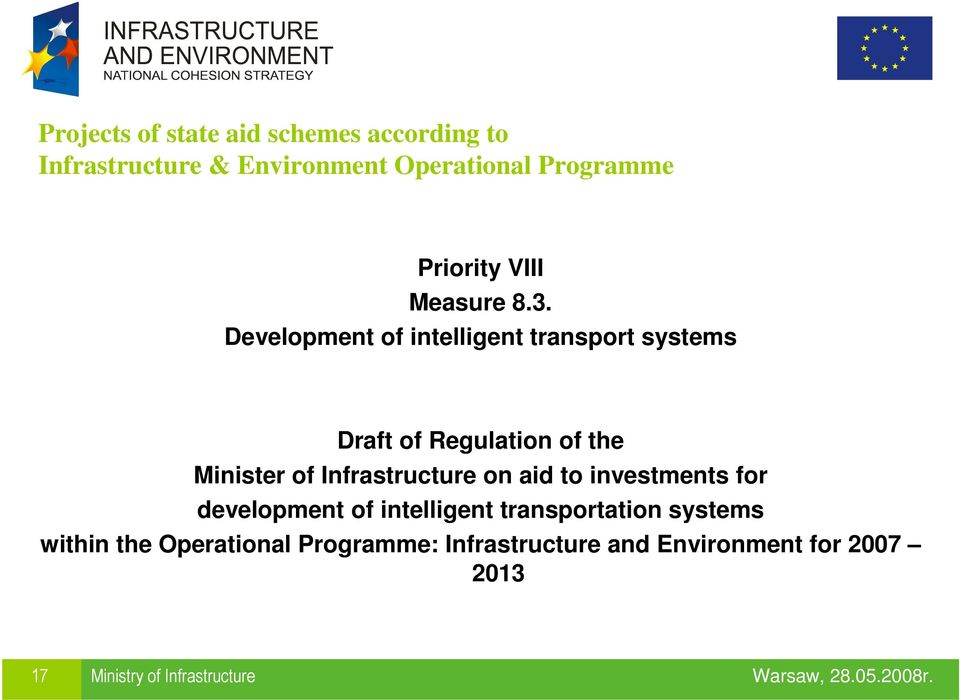 Development of intelligent transport systems Draft of Regulation of the Minister of Infrastructure