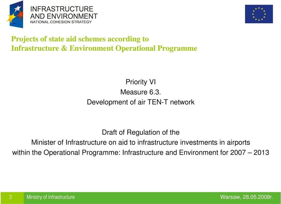 Development of air TEN-T network Draft of Regulation of the Minister of Infrastructure on