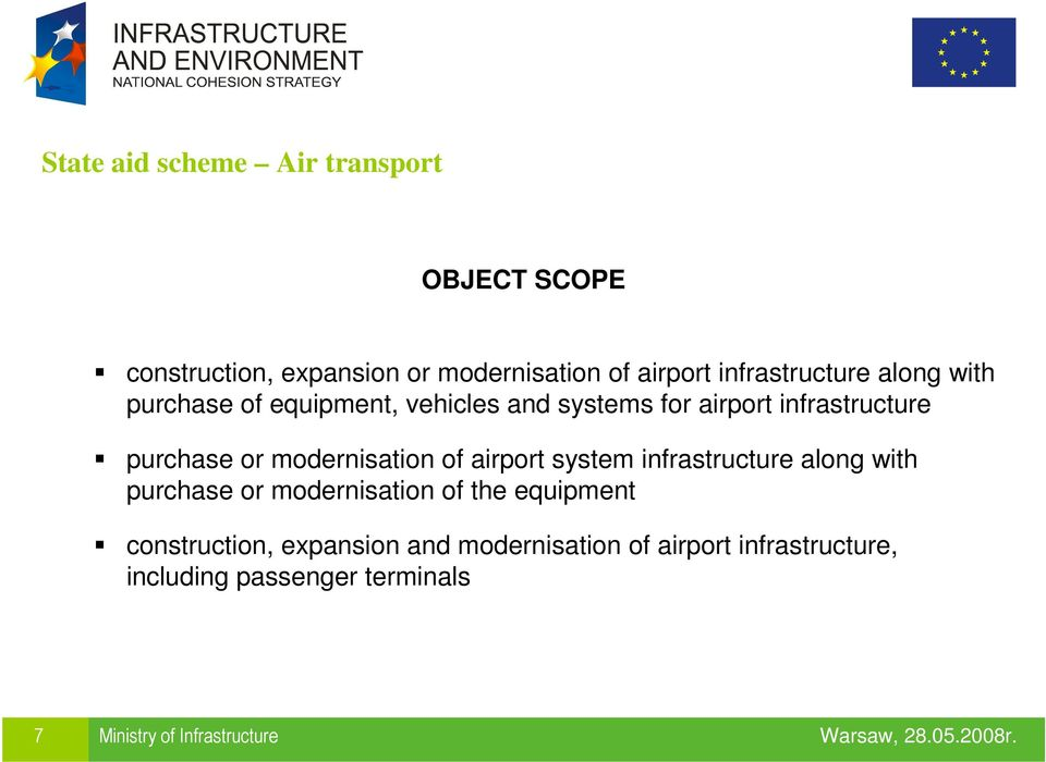 modernisation of airport system infrastructure along with purchase or modernisation of the equipment