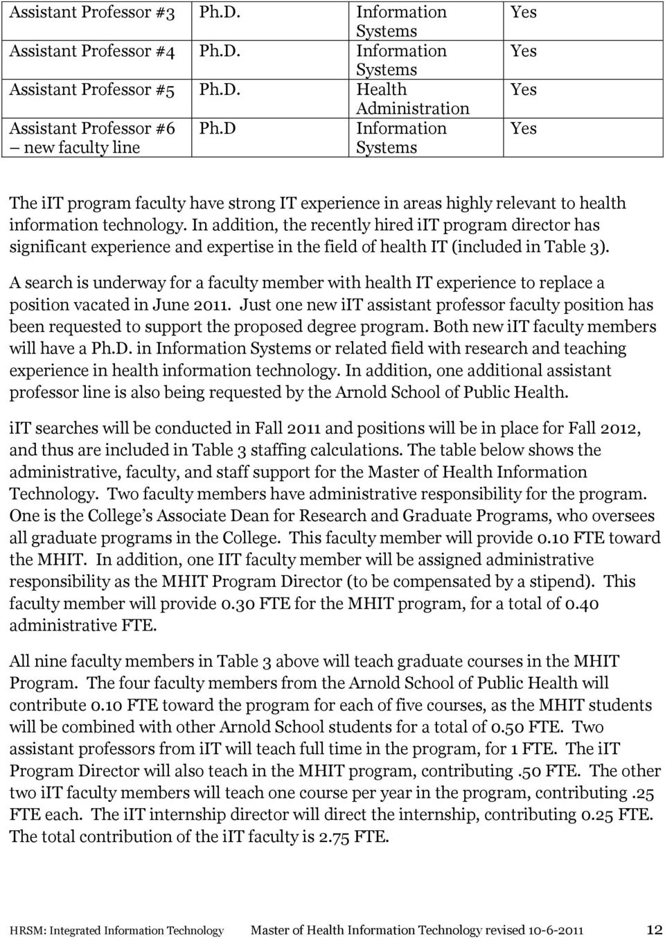 In addition, the recently hired iit program director has significant experience and expertise in the field of health IT (included in Table 3).