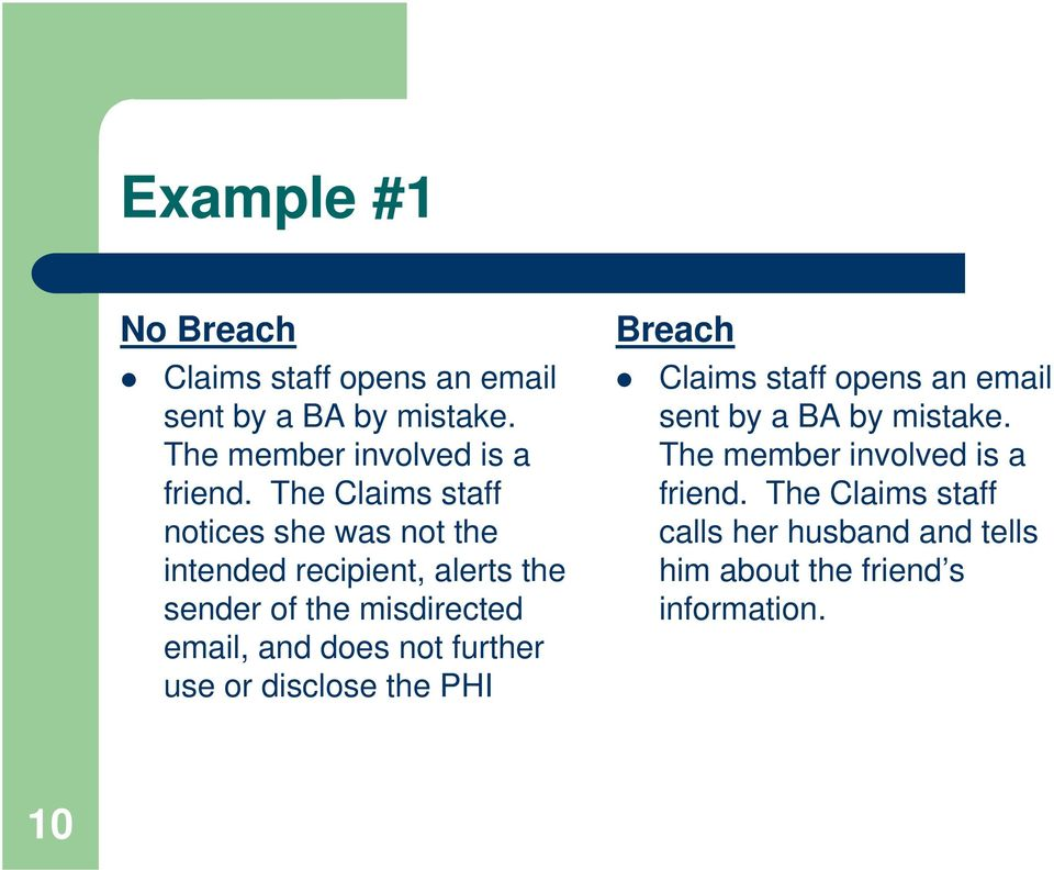 does not further use or disclose the PHI Breach Claims staff opens an email sent by a BA by mistake.