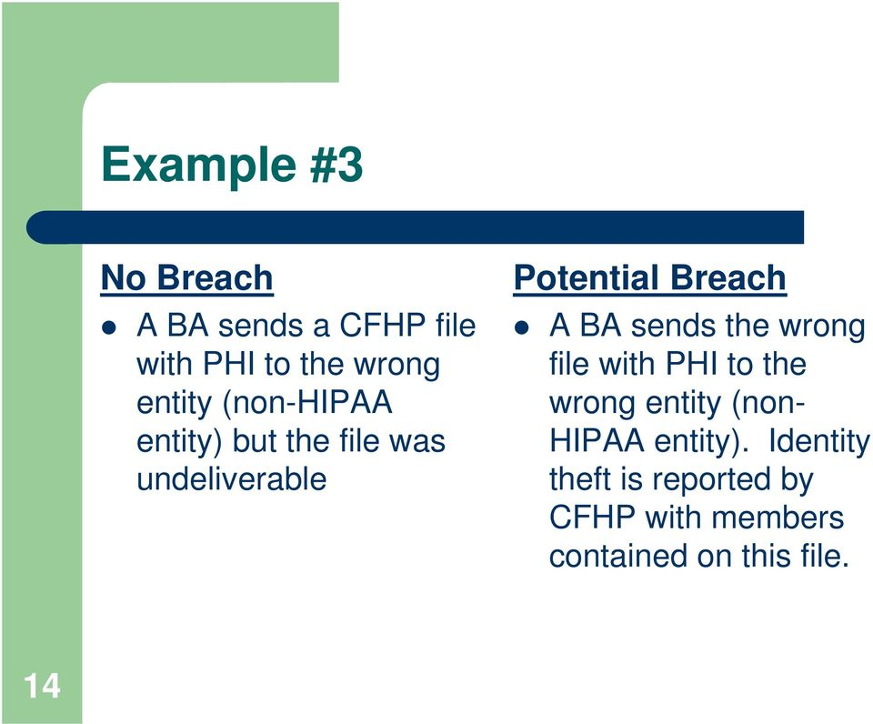 sends the wrong file with PHI to the wrong entity (non- HIPAA entity).