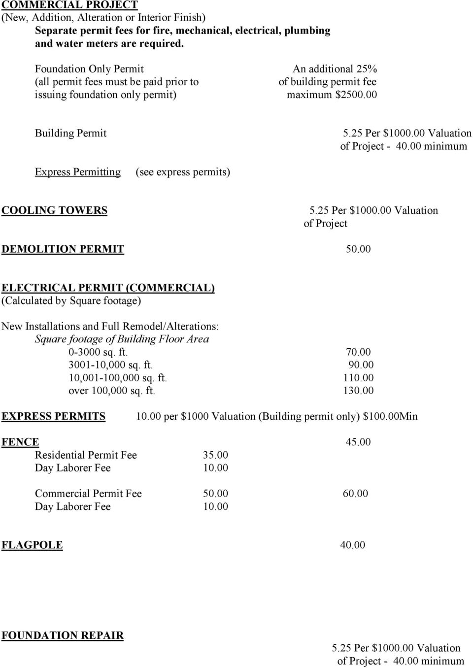 25 Valuation Express Permitting (see express permits) COOLING TOWERS 5.25 Valuation of Project DEMOLITION PERMIT 50.
