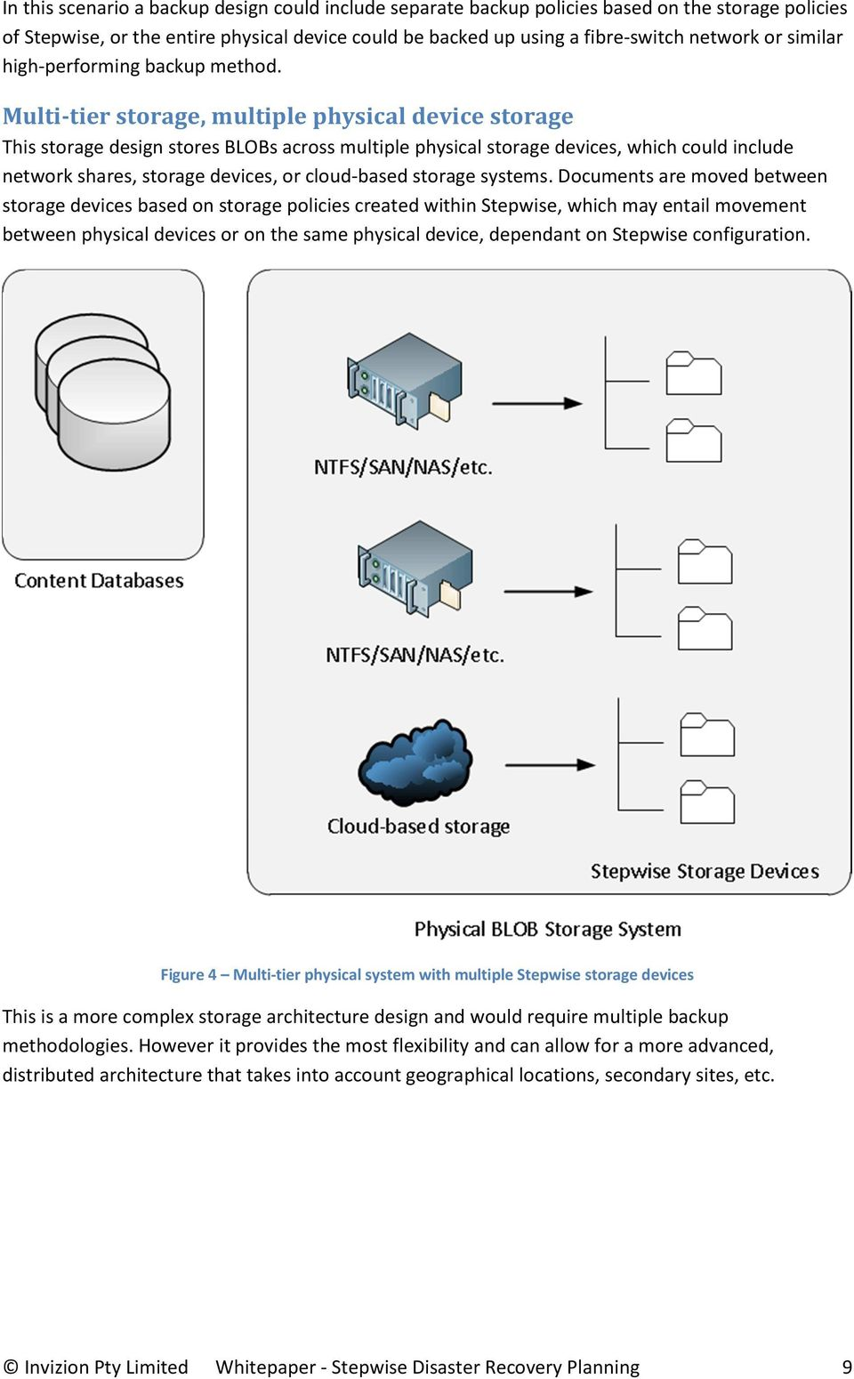 Multi-tier storage, multiple physical device storage This storage design stores BLOBs across multiple physical storage devices, which could include network shares, storage devices, or cloud-based