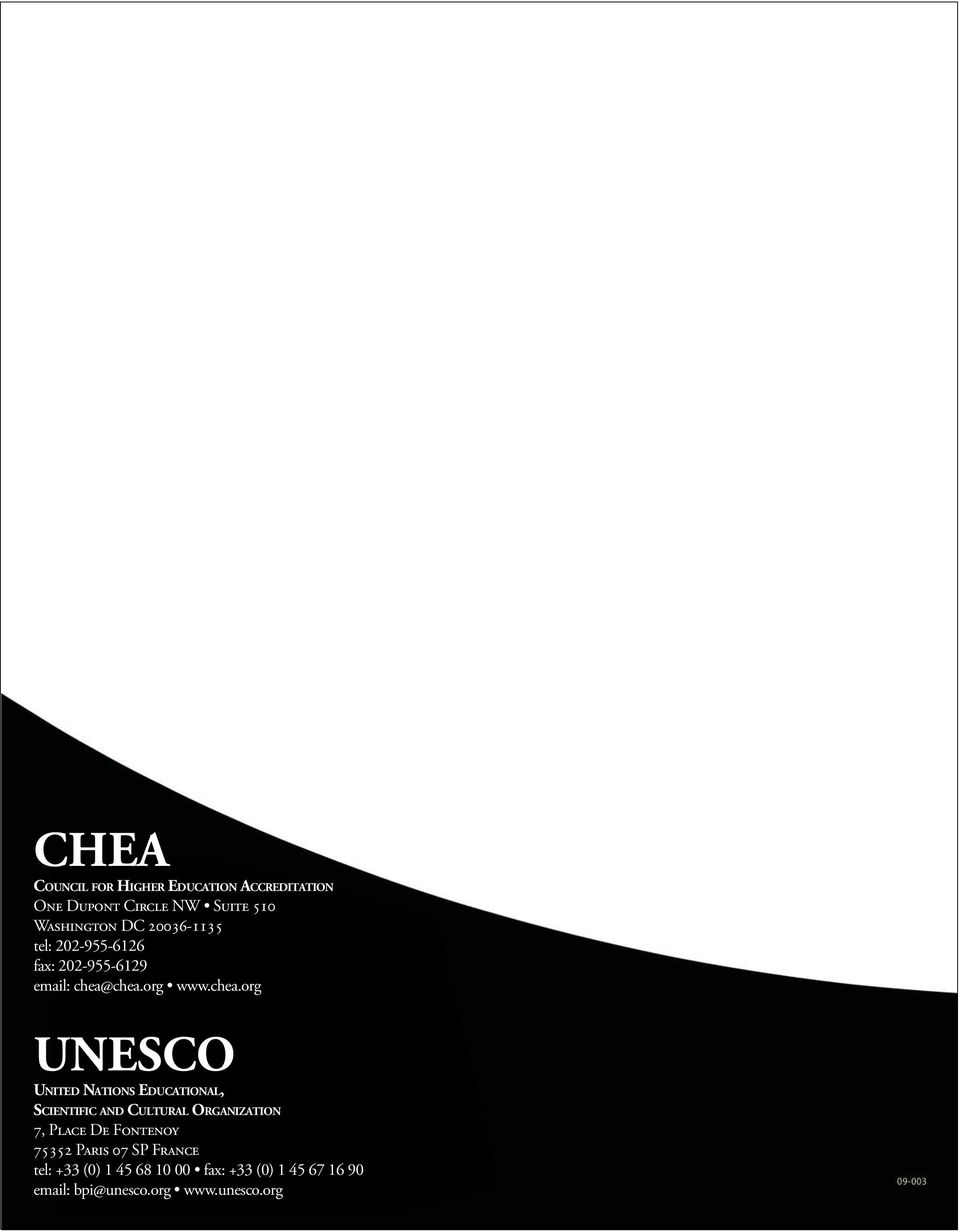 chea.org www.chea.org UNESCO United Nations Educational, Scientific and Cultural Organization