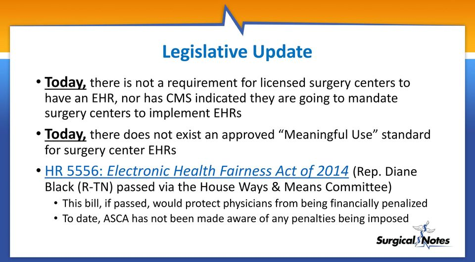 EHRs HR 5556: Electronic Health Fairness Act of 2014 (Rep.