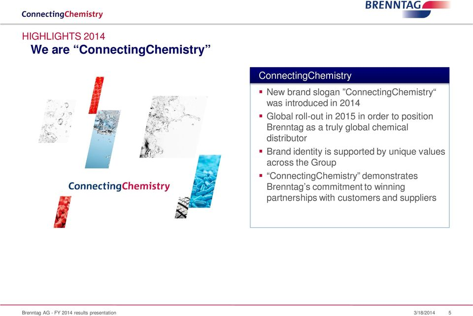 distributor Brand identity is supported by unique values across the Group ConnectingChemistry demonstrates